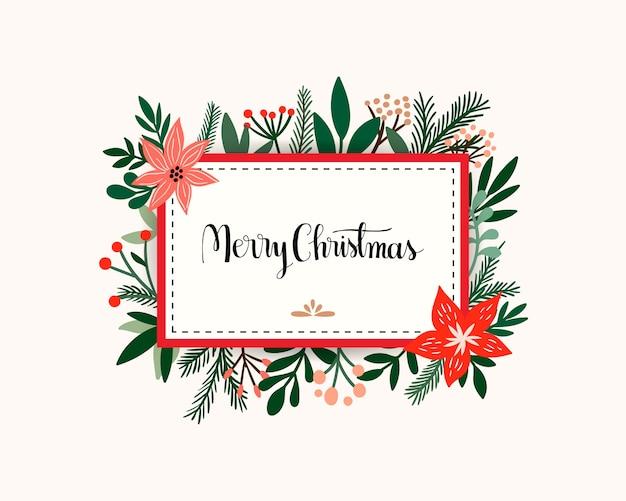 Invitación De Tarjeta De Navidad Con Marco Floral Flores Y