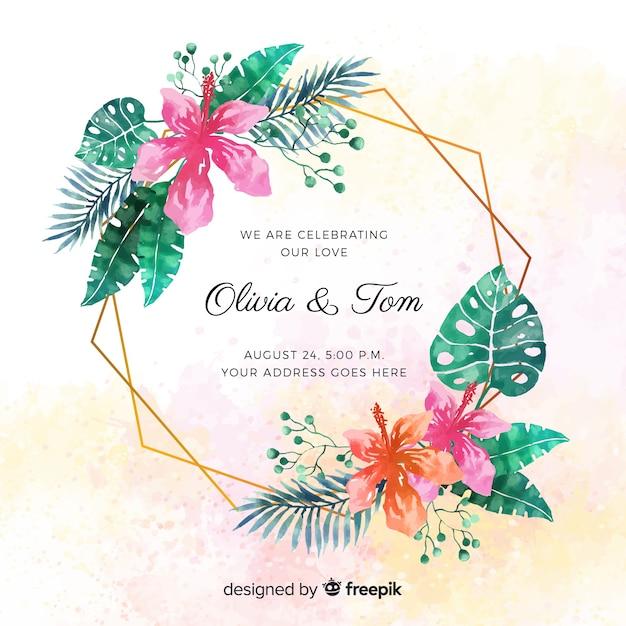 Invitación tropical de boda en acuarela vector gratuito