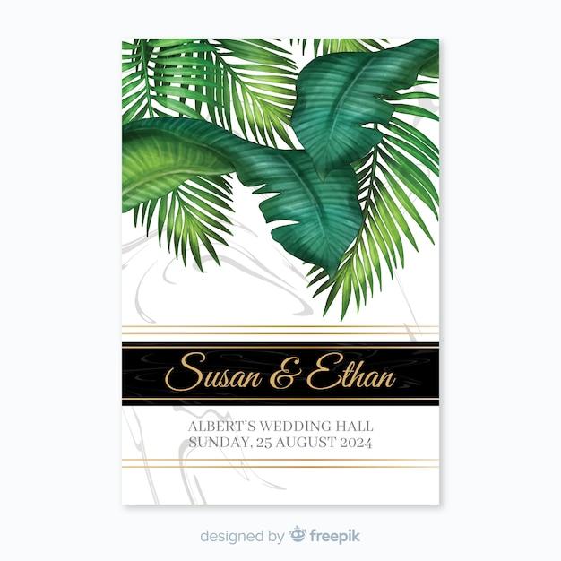Invitación tropical de boda vector gratuito