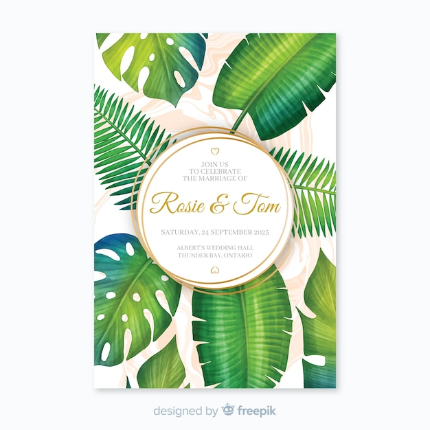Invitación tropical de boda vector gratuito