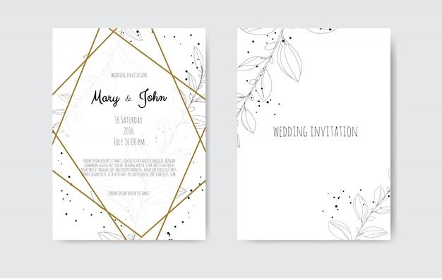 Invitación de vector con elementos florales hechos a mano. invitaciones de boda con elementos florales. Vector Premium