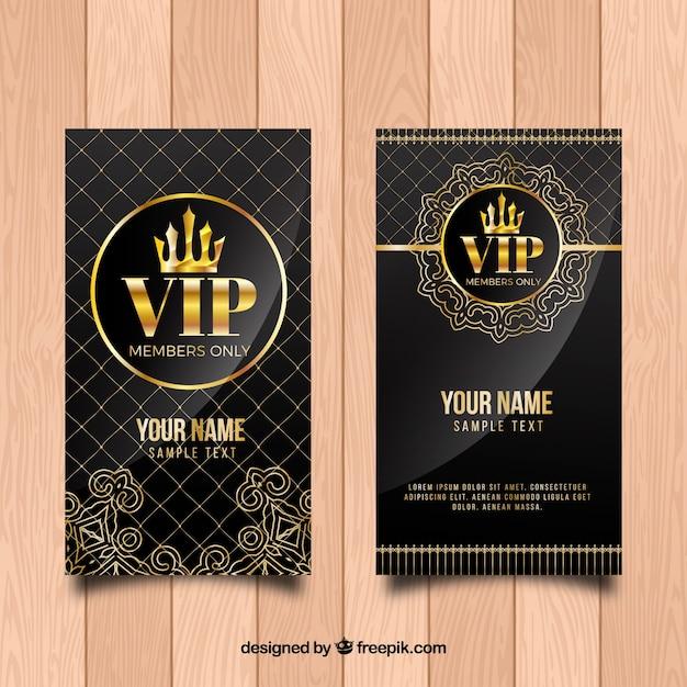 Invitación vintage dorada vip vector gratuito