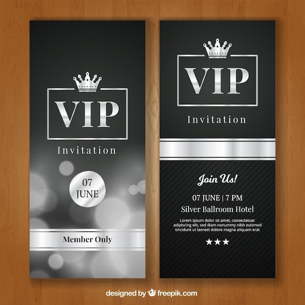 Invitación vip elegante con estilo plateado Vector Premium