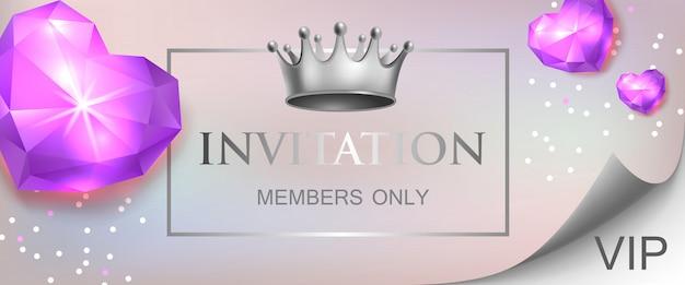 Invitación vip, miembros solo letras con corazones de diamantes vector gratuito