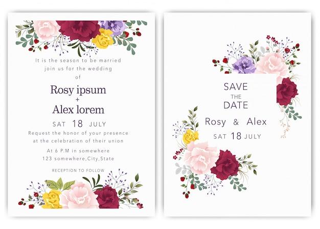 Las invitaciones de boda guardan el diseño de la tarjeta de fecha con una elegante anémona de jardín. Vector Premium