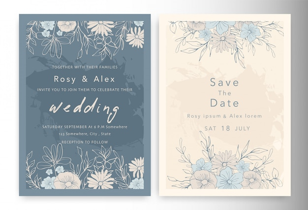 Las invitaciones de boda guardan la tarjeta de fecha con una elegante anémona de jardín. Vector Premium