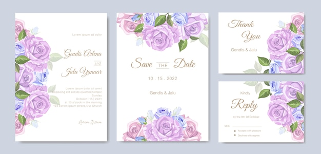 Invitaciones de boda con hermosas flores de acuarela Vector Premium
