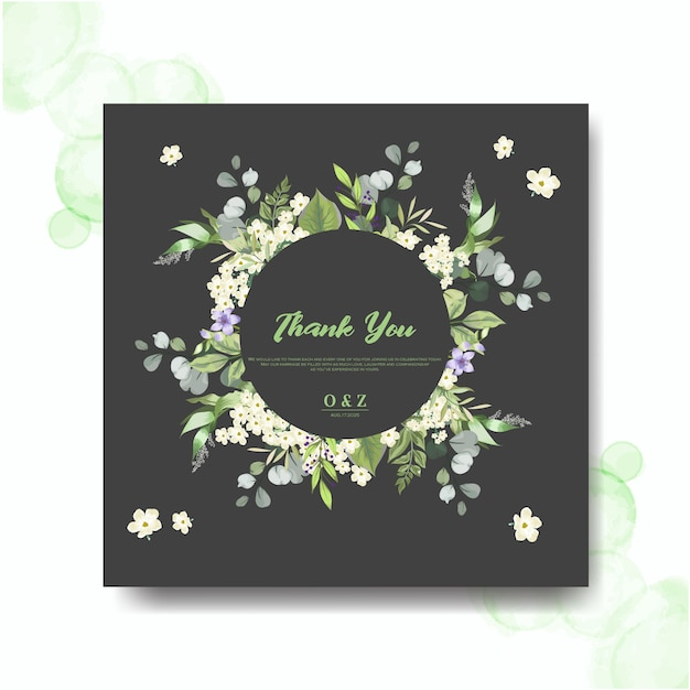 Invitaciones de boda con hermosas hojas y flores Vector Premium
