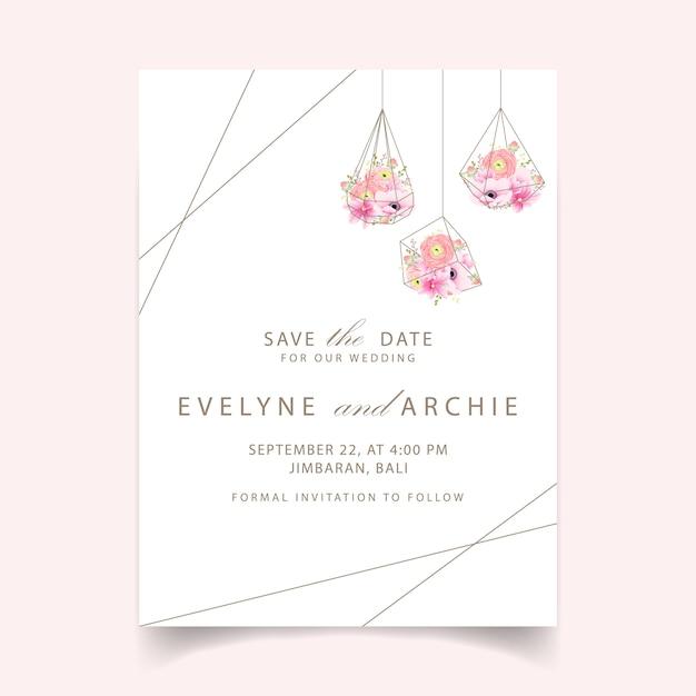 Invitaciones de boda ranunculus magnolia anémona flores Vector Premium