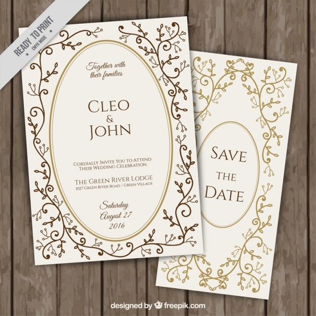 Invitaciones elegantes de boda con detalles florales dorados descargar vectores gratis - Detalles de boda elegantes ...