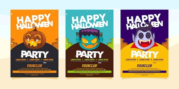 Invitaciones de fiesta feliz halloween con ilustración de disfraces de halloween Vector Premium