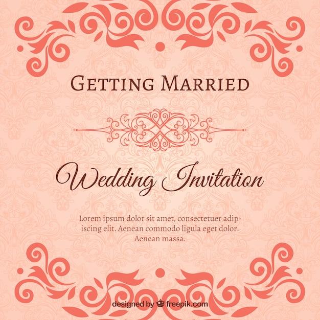 Invitaciones ornamentales de boda Vector Gratis