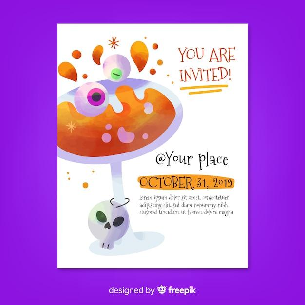 Estás invitado al cóctel flyer de la fiesta de halloween vector gratuito