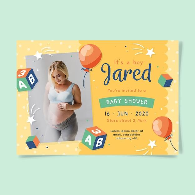Estás invitado a baby shower para niño y madre vector gratuito