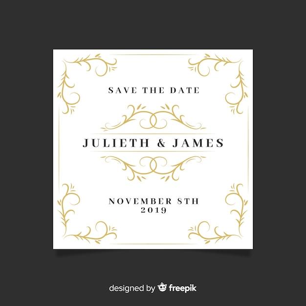 Invitatio de guardar la fecha de boda ornamental vector gratuito