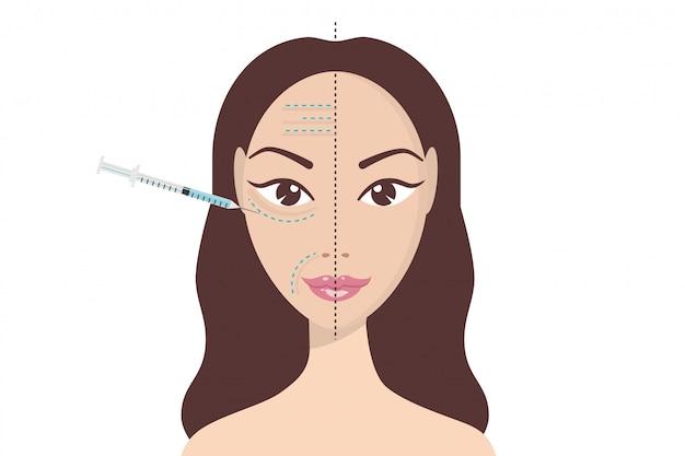 Inyección facial de ácido hialurónico Vector Premium