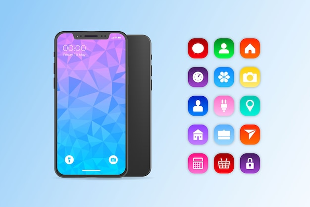 Iphone 11 en diseño realista vector gratuito