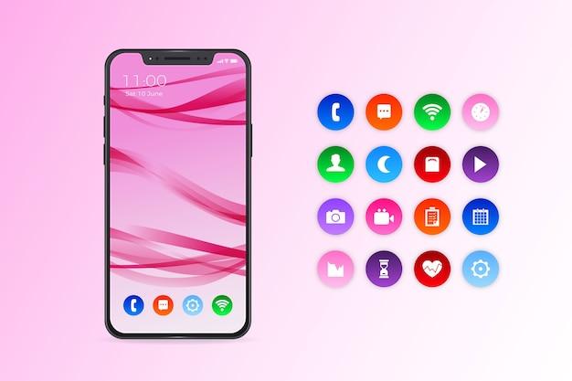 Iphone 11 realista con aplicaciones en tonos rosa degradado vector gratuito