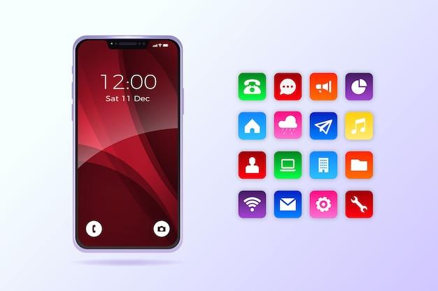 Iphone 11 realista con aplicaciones vector gratuito