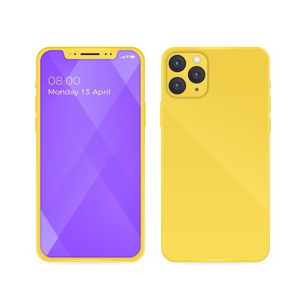 Iphone 11 realista con carcasa trasera amarilla y teléfono abierto vector gratuito