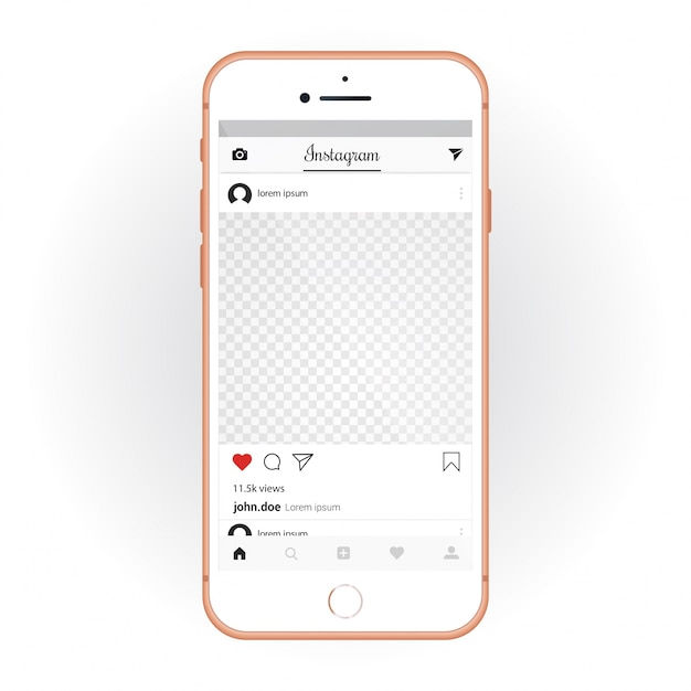 IPhone con el kit de interfaz de usuario móvil Instagram. Aplicación de chat y maqueta de teléfono inteligente Vector Gratis
