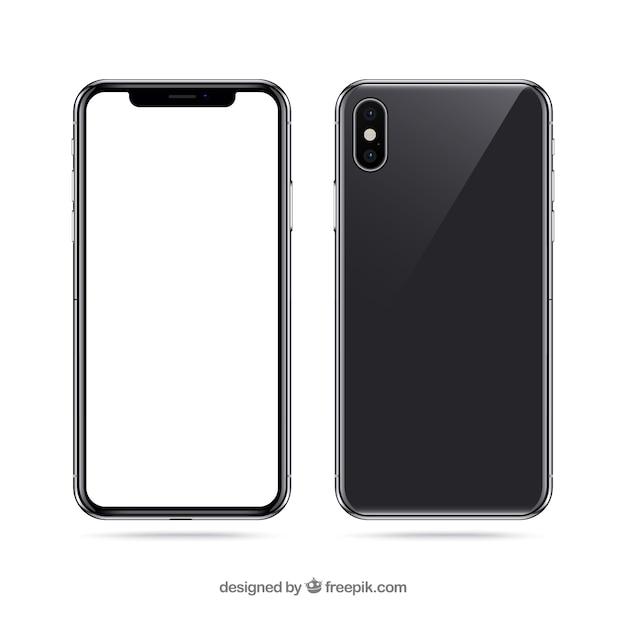 Iphone x con pantalla blanca vector gratuito
