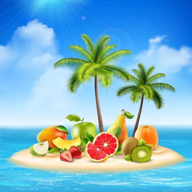 Isla realista llena de frutas vector gratuito