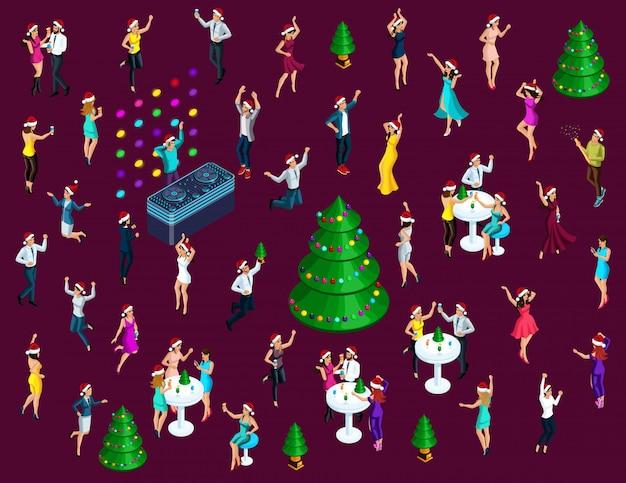 Isometría celebrando la navidad, muchos hombres y mujeres se divierten bailando, saltando Vector Premium