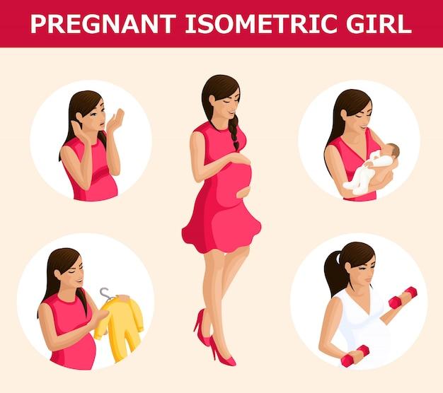 Isometría cualitativa, un conjunto de mujeres embarazadas en diferentes situaciones, con gestos emocionales, una base para la infografía. Vector Premium