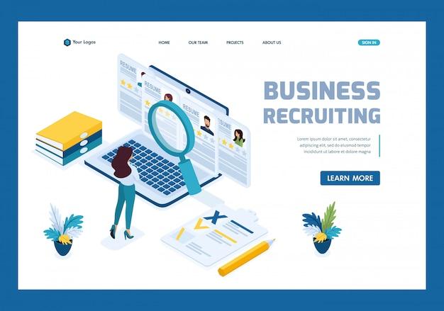 Isometric hr manager, gerente de reclutamiento empresarial revisa las opciones de currículum en la página de inicio del sitio Vector Premium