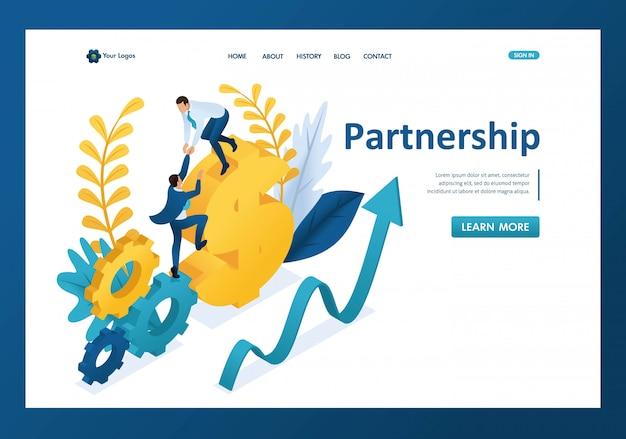 Isométrica ayudando a un gran hombre de negocios a su pareja, mano amiga, página de inicio de asociación Vector Premium