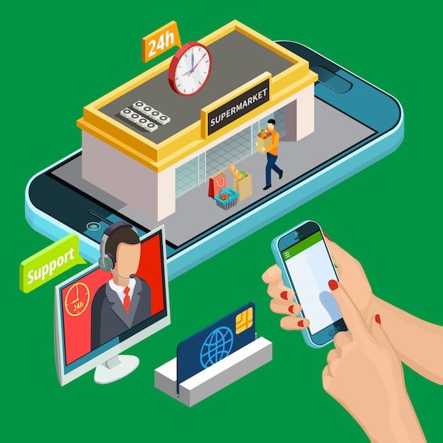 Isométrica de compras en línea vector gratuito