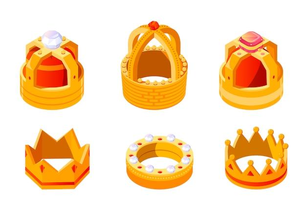 Isométrica corona de rey o reina dorada con gemas vector gratuito