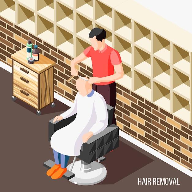 Isométrica de depilación con hombre afeitado la cabeza en el salón 3d vector gratuito