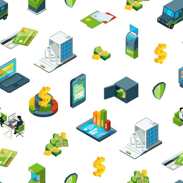 Isométrica, dinero, en, banco, iconos, patrón, ilustración Vector Premium