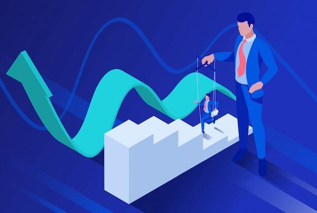 Isométrica los empresarios están bajo control como una marioneta. Vector Premium