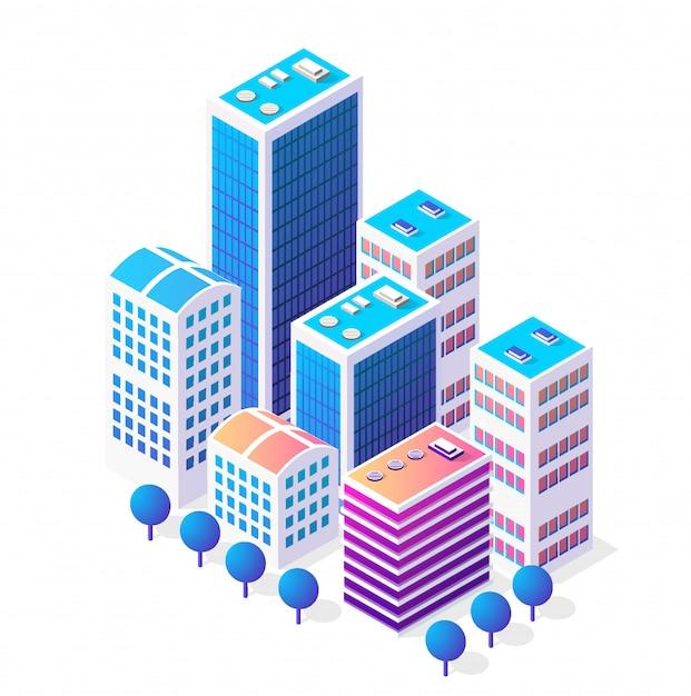 Isométrica icono 3d área urbana de la ciudad con muchas casas Vector Premium