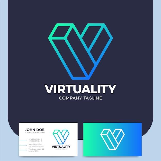 Isométrica letra v logotipo diseño plantilla realidad virtual logotipo gráfico ciberespacio Vector Premium