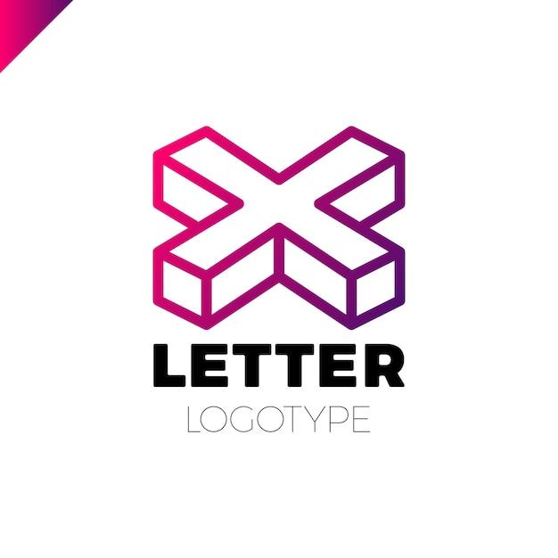 Isométrica letra x logo icono plantilla elementos de diseño ...