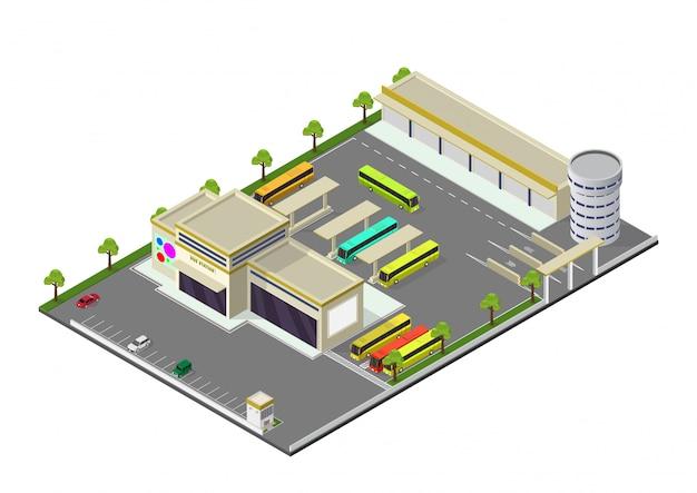 Isométrica que representa la estación de autobuses Vector Premium