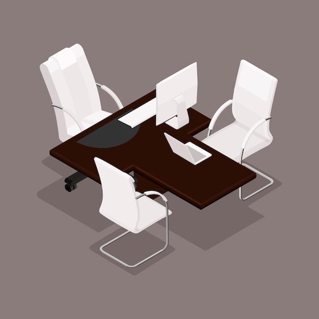 Isométrico 3d, amueblado en un estilo moderno, mobiliario de oficina, equipo informático. Vector Premium