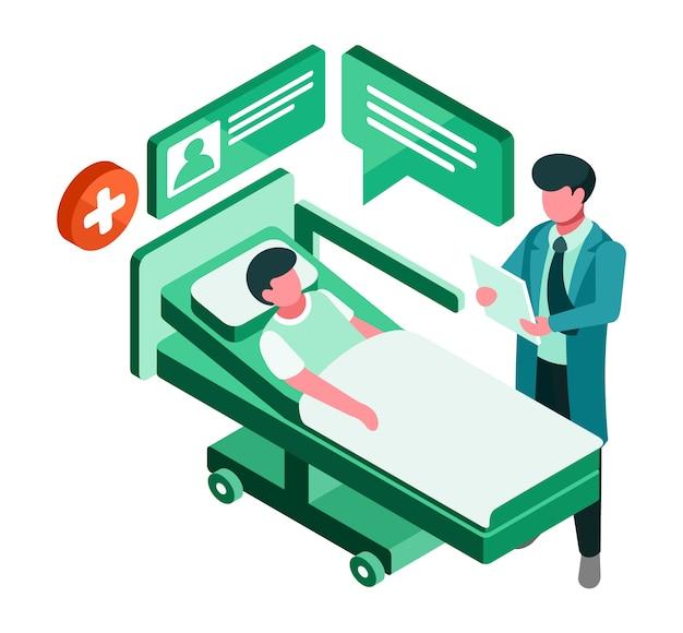 Isométrico doctor y paciente Vector Premium