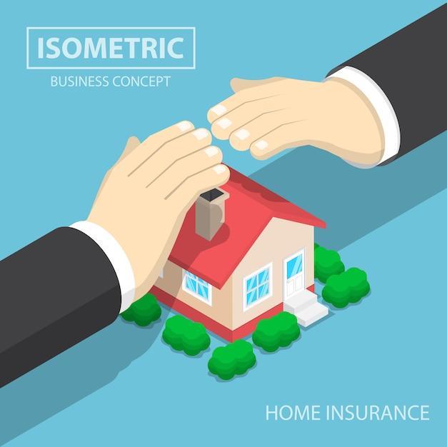 Isométrico empresario manos protegiendo la casa Vector Premium