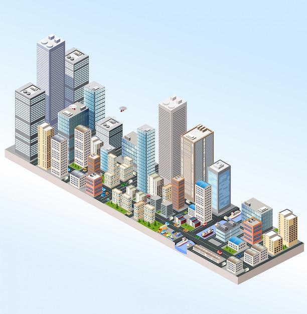 Isométrico en una gran ciudad con calles, rascacielos, autos y árboles. Vector Premium