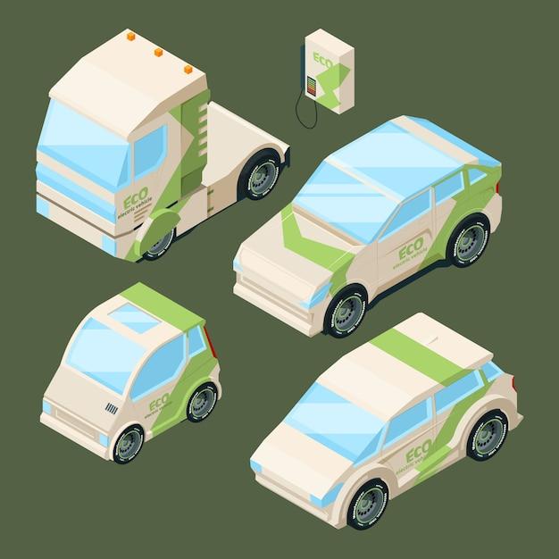 Isométricos de coches eléctricos. varios autos ecológicos aislados Vector Premium