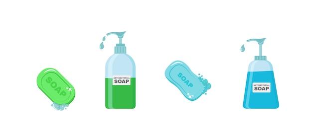 Jabón, gel antiséptico y otros productos higiénicos. el aerosol antiséptico en frasco mata las bacterias. conjunto de iconos de higiene. concepto antibacteriano. alcohol líquido, botella de spray con bomba. Vector Premium