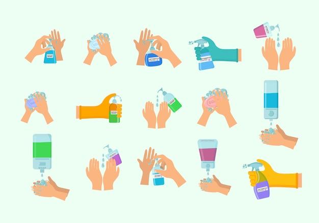 Jabón, gel antiséptico y otros productos higiénicos. el aerosol antiséptico en el matraz mata las bacterias. conjunto de iconos de higiene. concepto antibacteriano. alcohol líquido, botella de spray bomba. Vector Premium
