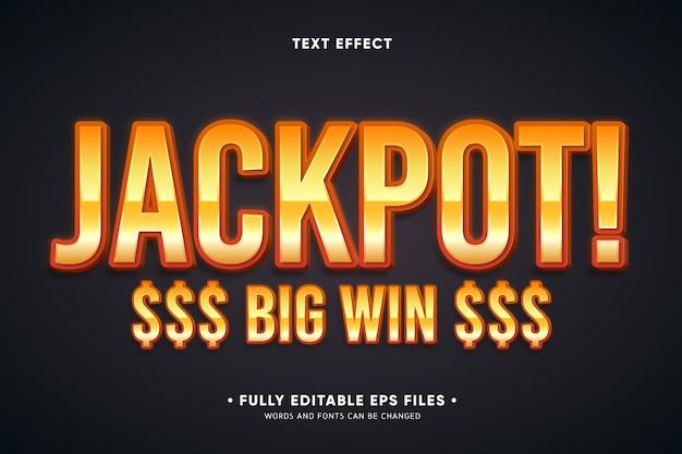 Jackpot efecto de texto de gran victoria vector gratuito