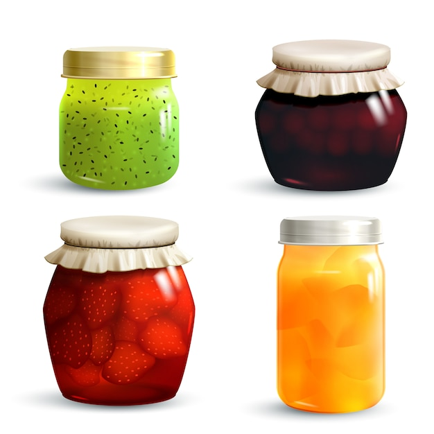 Jam jar set vector gratuito