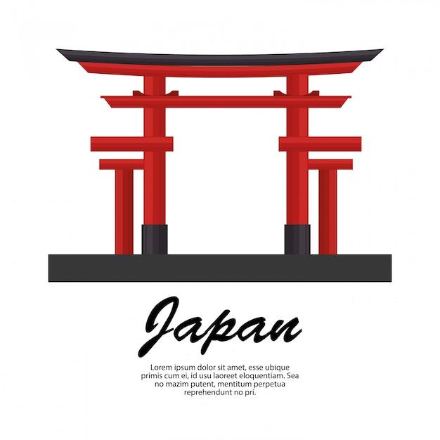 Japón, viaje, torii, puerta, icono vector gratuito